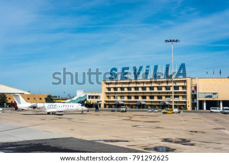 SEVILLE, ES - MARCH 6, 2017:  Seville Airport, also known as San Pablo Airport, is the main city hub for tourists.