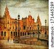 Seville, plaza Espana on sunset, artistic vintage picture  - stock photo