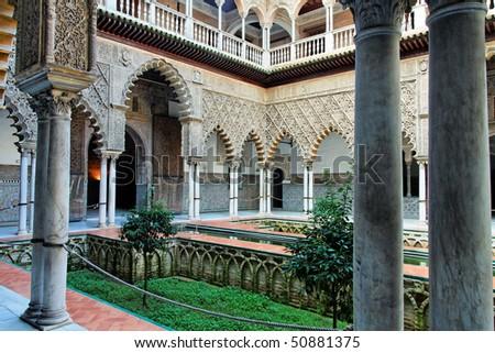 Seville, Real Alcazar Patio - stock photo