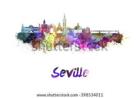 Seville skyline in watercolor splatters with clipping path - stock photo