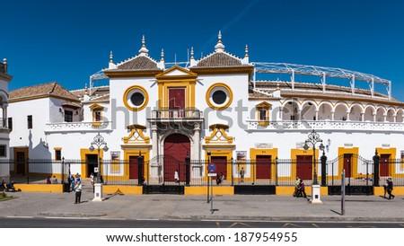 SEVILLE, SPAIN - APR 13, 2014: Plaza de Toros (Bull Square) in Seville, Spain. Seville is the capital and largest city of the autonomous community of Andalusia - stock photo
