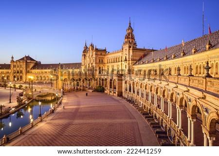 Seville, Spain at Spanish Square (Plaza de Espana). - stock photo