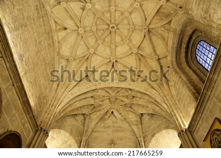 SEVILLE, SPAIN- AUGUST 27, 2014: Interior Cathedral of Seville -- Cathedral of Saint Mary of the See, Andalusia, Spain. Burial Place of Christopher Columbus