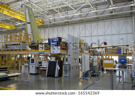 SEVILLE,SPAIN-CIRCA APRIL 2013: Airbus Military C.295 transporter aircraft assembly line showing the first example for the Royal Air Force of Oman in late stage of completion.