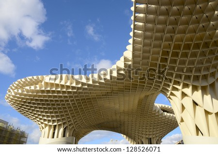 SEVILLE, SPAIN - JANUARY 21: Detail of  Metropolitan Parasol on January 21, 2013 in Seville, Spain. It is the world's largest wooden structure, designed by   by Mayer-Hermann in 2011. - stock photo