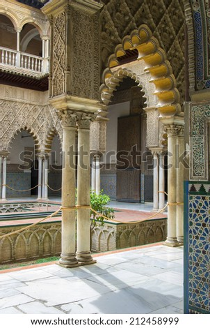 SEVILLE, SPAIN - JANUARY 3: View in the Alcazar of Seville, Spain on January 3, 2009. Alcazar is a royal palace, originally a Moorish fort - stock photo