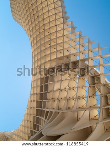 SEVILLE,SPAIN - JUNE 2012: Metropol Parasol in Plaza de la Encarnacion on June 2012 in Seville,Spain. J. Mayer H. architects, it is made from bonded timber with a polyurethane coating. - stock photo