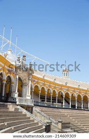 SEVILLE, SPAIN - JUNE 4: Plaza de toros de la Real Maestranza de Caballeria de Sevilla on June 4, 2014, Spain. Also called Plaza de Toros of Seville, it is the oldest spanish bullring - stock photo