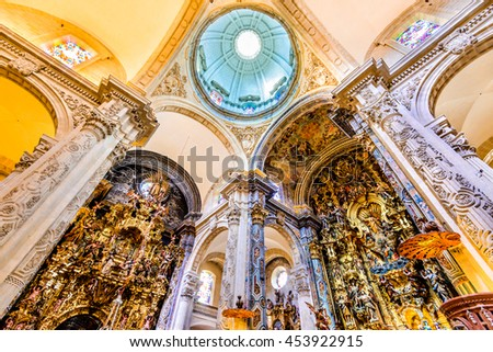 SEVILLE, SPAIN - MAY 9, 2016: Basilica and Dome in Church of El Salvador, Iglesia de El Salvador, Andalusia, Seville, Spain. Built in 1674 is the second largest church in Seville.