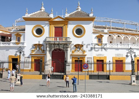 SEVILLE SPAIN-OCTOBER 7, 2012: Maestranza bull ring is listed building on Oct 7, 2012 in Seviile - stock photo