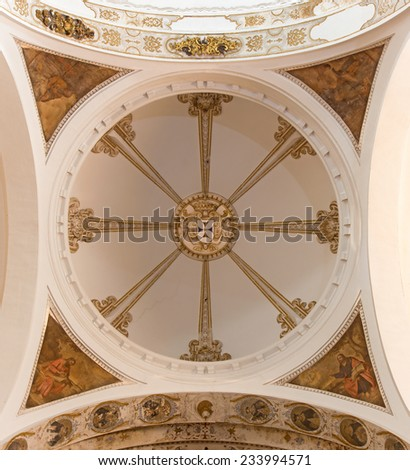 SEVILLE, SPAIN - OCTOBER 29, 2014: The baroque cupola of church Basilica del Maria Auxiliadora.  - stock photo