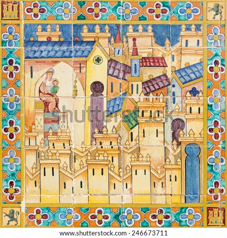 SEVILLE, SPAIN - OCTOBER 28, 2014: The church of Madonna in the medieval town. The detail from Tiled 'Province Alcoves' along the walls of the Plaza de Espana (1920s) realized by D. Prida.