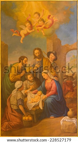 SEVILLE, SPAIN - OCTOBER 29, 2014: The fresco of Nativity in church Basilica de la Macarena by Rafael Rodrguez (1984) in neobaroque style.  - stock photo