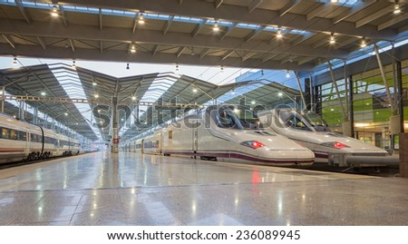 SEVILLE, SPAIN - OCTOBER 27, 2014: The platforms of Maria Zambrano Train station of Malaga in morning.