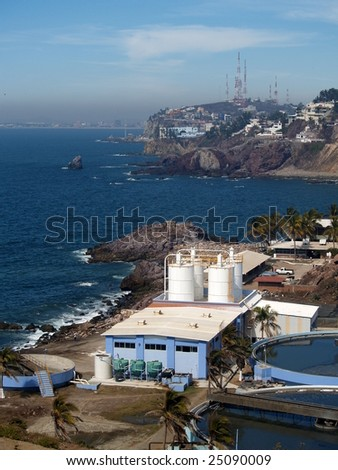 Sewage treatment plant, Mazatlan, Mexico as viewed from the el Faro Lighthouse - stock photo