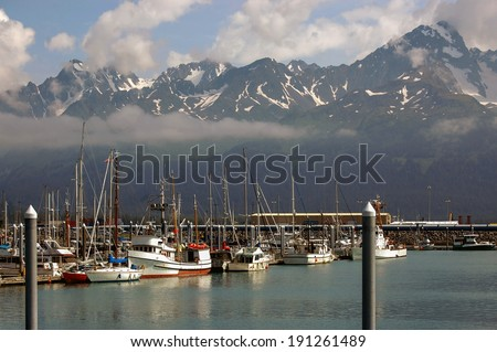Seward Harbor, Alaska - All marking and registrations removed - stock photo