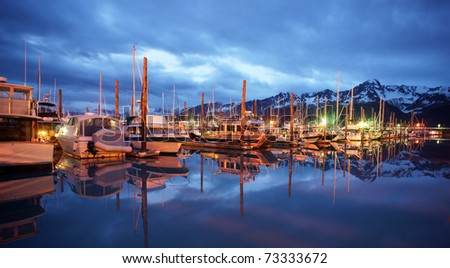 Seward Marina at Midnight Resurrection Bay Alaska United States - stock photo