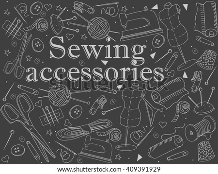 Sewing accessories chalk line art design raster illustration. Implement separate objects. Hand drawn doodle design elements. - stock photo