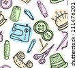 Sewing and accessories seamless pattern - hand drawn illustration - stock photo