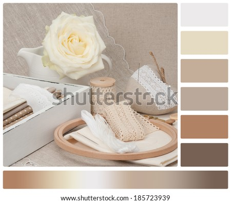 Sewing And Embroidery Craft Kit. Tailoring Accessories. Palette With Complimentary Colour Swatches - stock photo