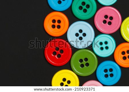 Sewing buttons background with copy space - stock photo