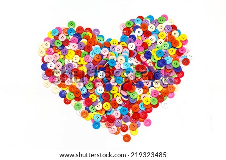 Sewing buttons heart , Plastic buttons, Colorful buttons background, Buttons close up, Buttons background - stock photo