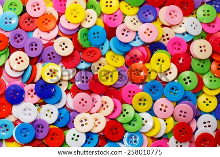Sewing buttons, Plastic buttons, Colorful buttons background, Buttons close up, Buttons background - stock photo