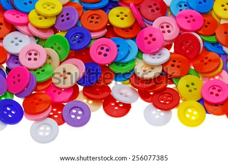 Sewing buttons, Plastic buttons, Colorful buttons background, Buttons close up, Buttons on white background - stock photo
