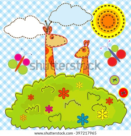 Sewing cartoon background for kids with giraffe and kangaroo