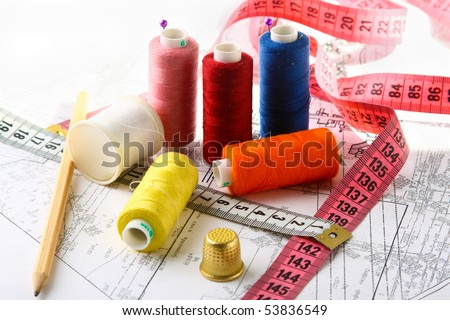 sewing equipment - stock photo