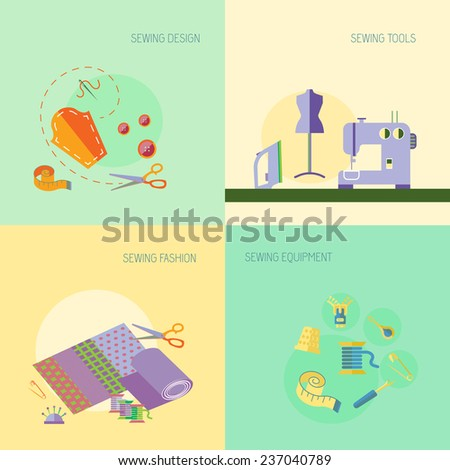 Sewing equipment design tools fashion flat set isolated  illustration - stock photo