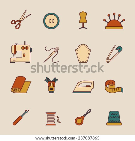 Sewing equipment icons set with button dress form machine isolated  illustration - stock photo