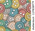 Sewing equipment - illustration of colored buttons, vector seamless pattern - stock photo