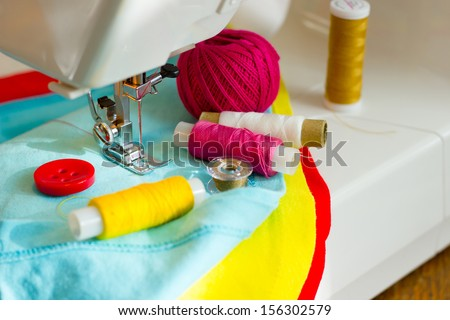 sewing, fabric and thread - stock photo
