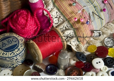 sewing kit - stock photo