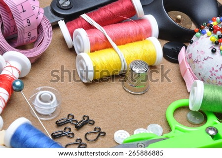 Sewing kit tailor's tools  - stock photo
