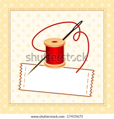 Sewing label needle thread quilted pattern stock illustration sewing label needle and thread quilted pattern frame copy space to add name solutioingenieria Image collections