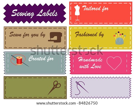 Sewing Labels, Pantone fashion colors, needle, thread, scissors, sewing machine, pincushion, heart, model for tailoring, dressmaking, do it yourself handmade projects. Copy space to add your name. - stock photo