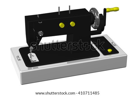 Sewing machine isolated on white background.  3D rendering