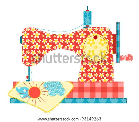 Sewing machine isolated on white. Patchwork series. - stock photo