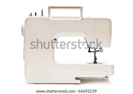 Sewing machine on white background. Back side - stock photo
