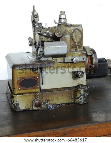 Sewing machine Sewing fabric along the inside. For durability and strength. - stock photo