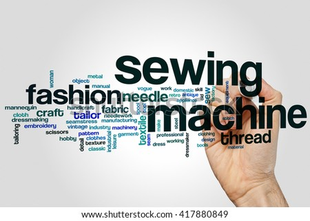 Sewing machine word cloud concept with fashion clothing related tags - stock photo