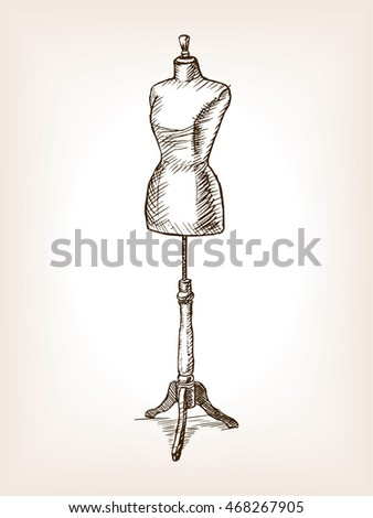Sewing Mannequin sketch raster illustration. Old hand drawn engraving imitation.