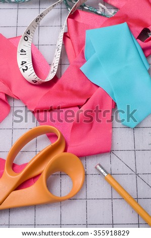 Sewing Material and Scissors