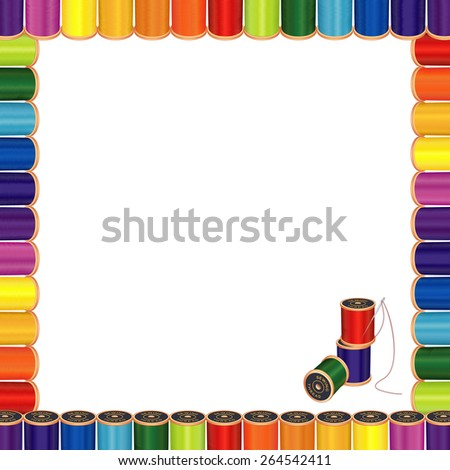 Sewing Needle and Threads Poster Frame, spools of multicolor sewing thread, square blank frame, for do it yourself sewing, tailoring, quilting, embroidery, needlework,  crafts.  - stock photo