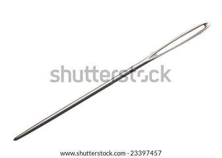 sewing needle isolated on white background - stock photo
