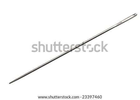 sewing needle isolated on white background - stock photo