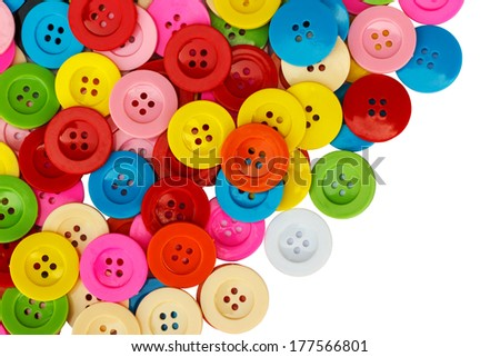 Sewing old buttons, Old plastic buttons, Colorful old buttons, Old clasper close up, Old buttons background. - stock photo