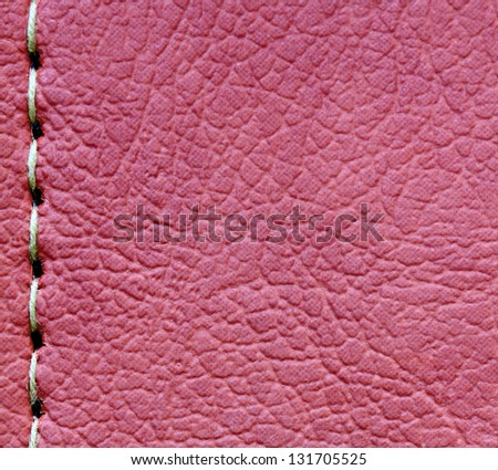 sewing on leather texture for background - stock photo